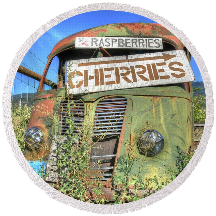 Old Truck Round Beach Towel featuring the photograph Cherries by Darrel Giesbrecht