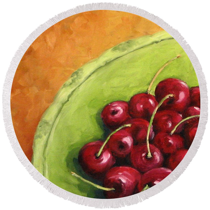 Art Round Beach Towel featuring the painting Cherries Green Plate by Richard T Pranke