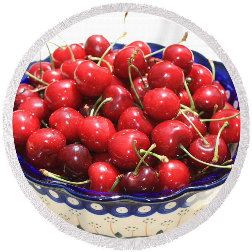 Cherries Round Beach Towel featuring the photograph Cherries In Blue Bowl by Carol Groenen