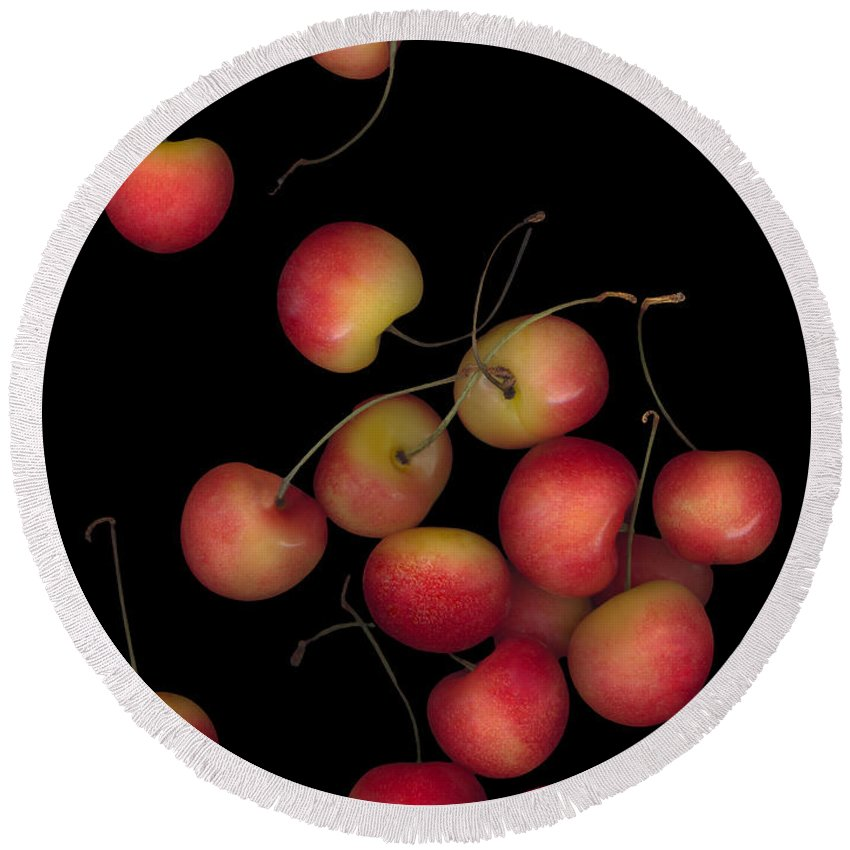 Cherries Round Beach Towel featuring the photograph Cherries Multiplied by Heather Kirk