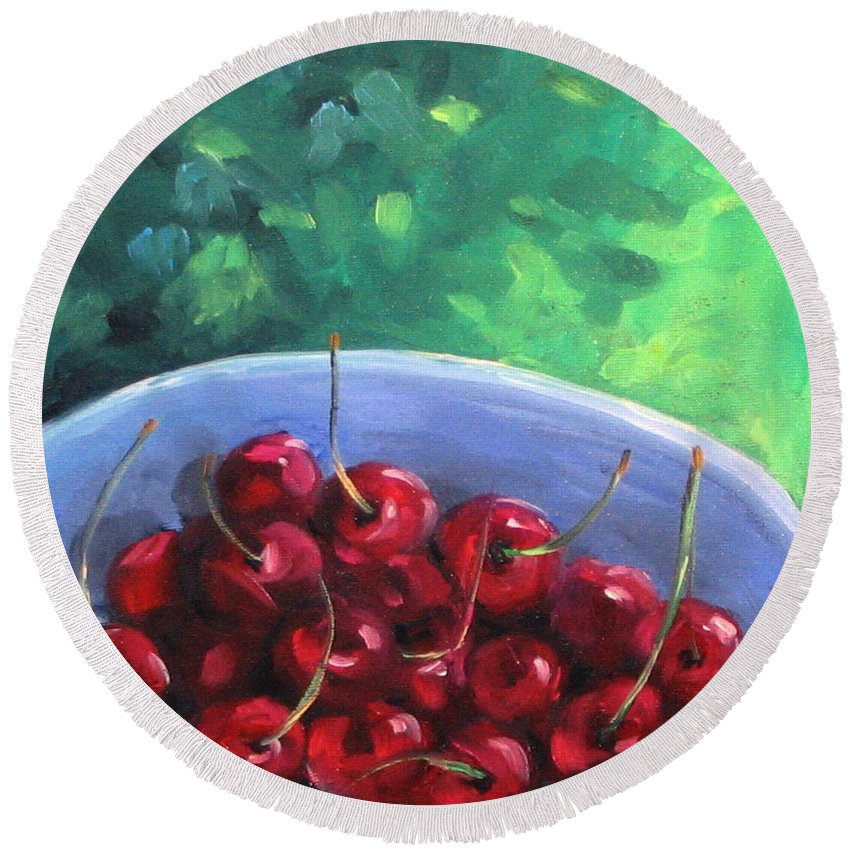 Art Round Beach Towel featuring the painting Cherries On A Blue Plate by Richard T Pranke