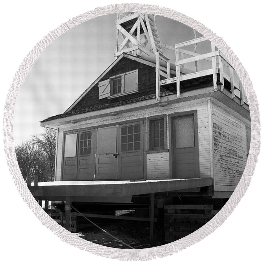 Black And White Round Beach Towel featuring the photograph Cherry Beach Boat House by Nina Silver
