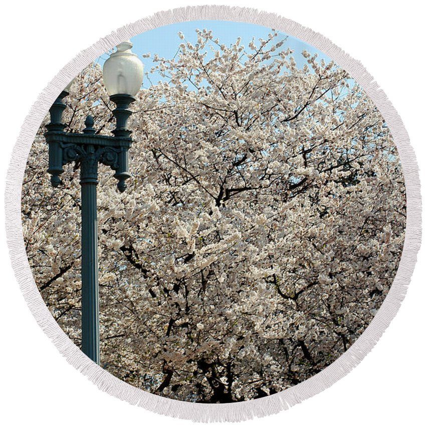 Clay Round Beach Towel featuring the photograph Cherry Blossom Festival by Clayton Bruster