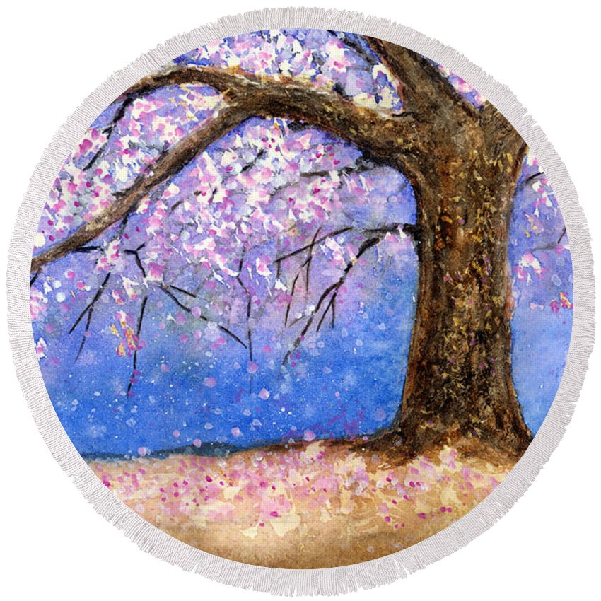 Cherry Blossom Round Beach Towel featuring the painting Cherry Blossom by Hailey E Herrera