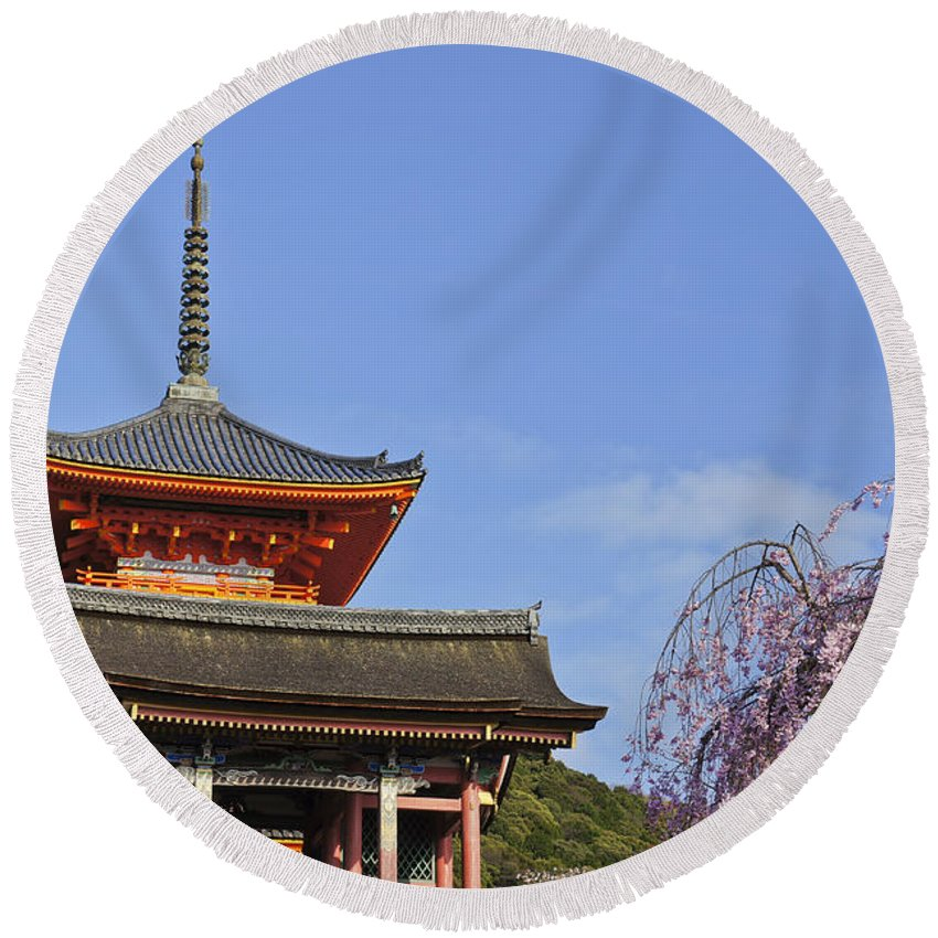 Kiyomizu-dera Round Beach Towel featuring the photograph Cherry Blossoms And Kiyomizu-dera by Brian Kamprath