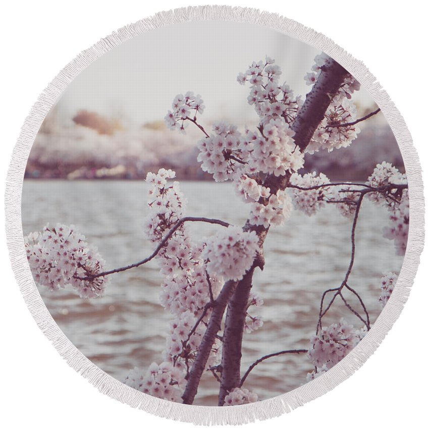 Cherry Blossoms Round Beach Towel featuring the photograph Cherry Blossoms by Emily Kay