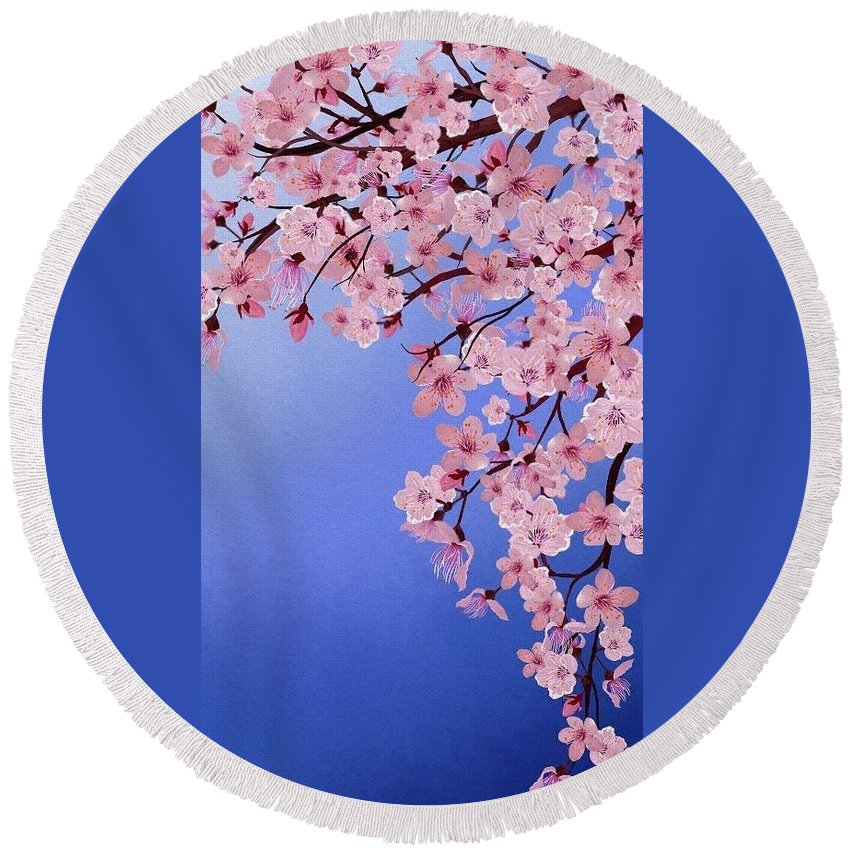 Flower Round Beach Towel featuring the digital art Cherry Blossoms by Jessica E Hayes