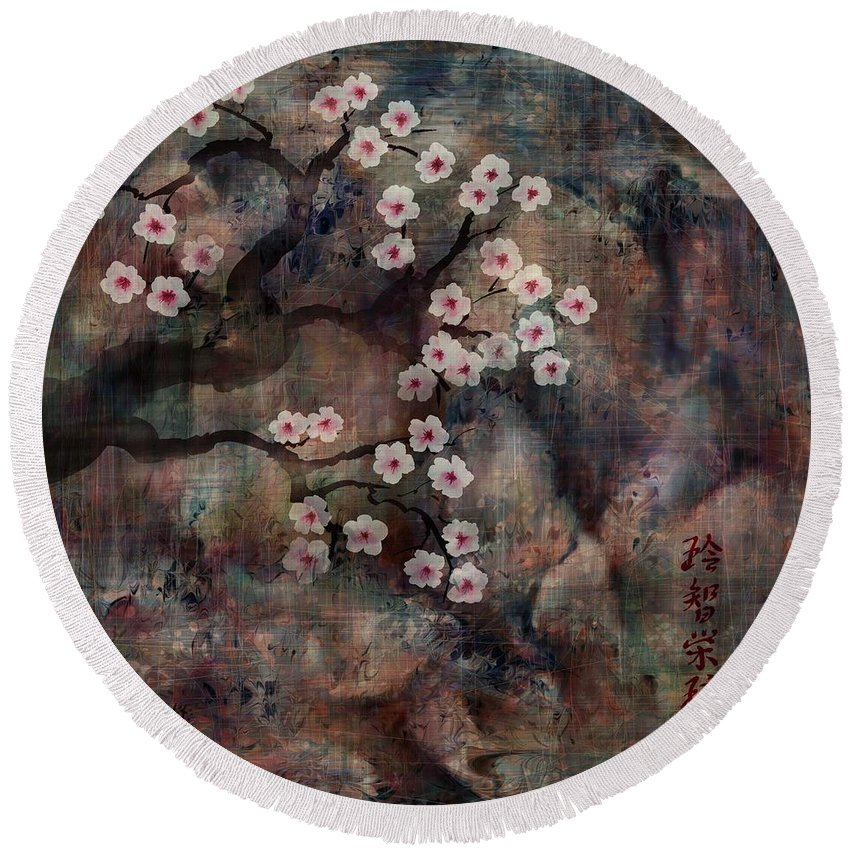 Landscape Round Beach Towel featuring the digital art Cherry Blossoms by William Russell Nowicki