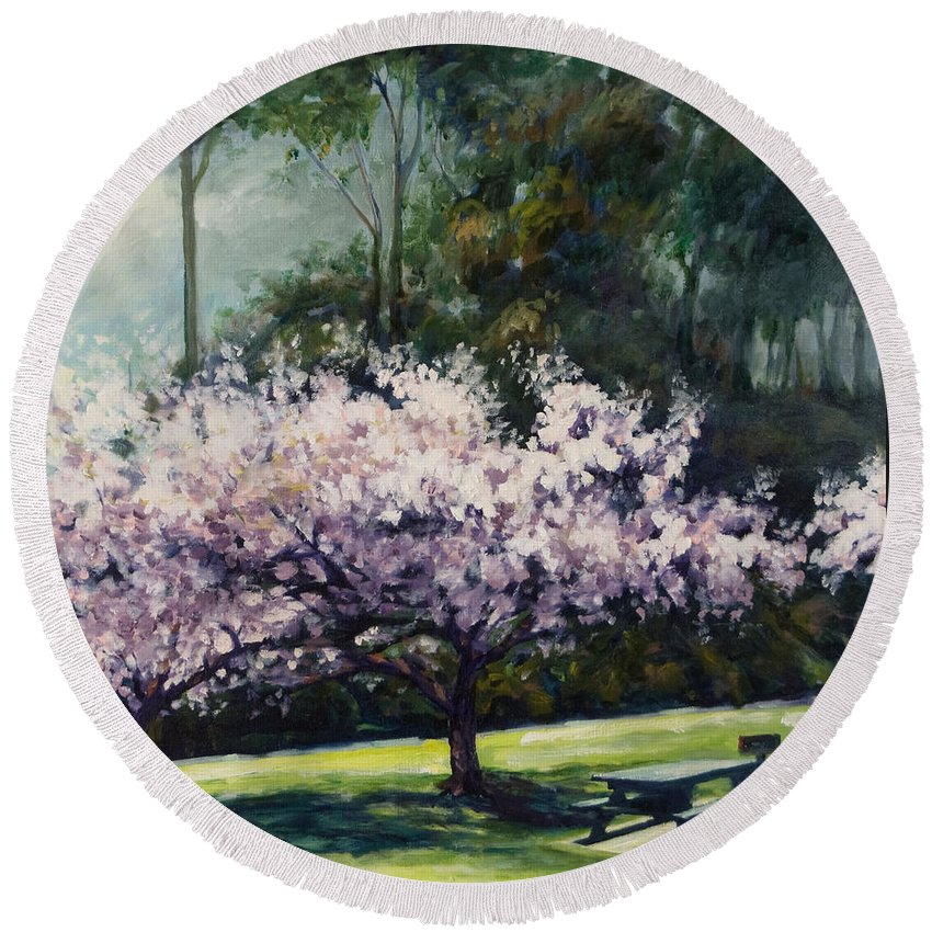 Trees Round Beach Towel featuring the painting Cherry Blossoms by Rick Nederlof