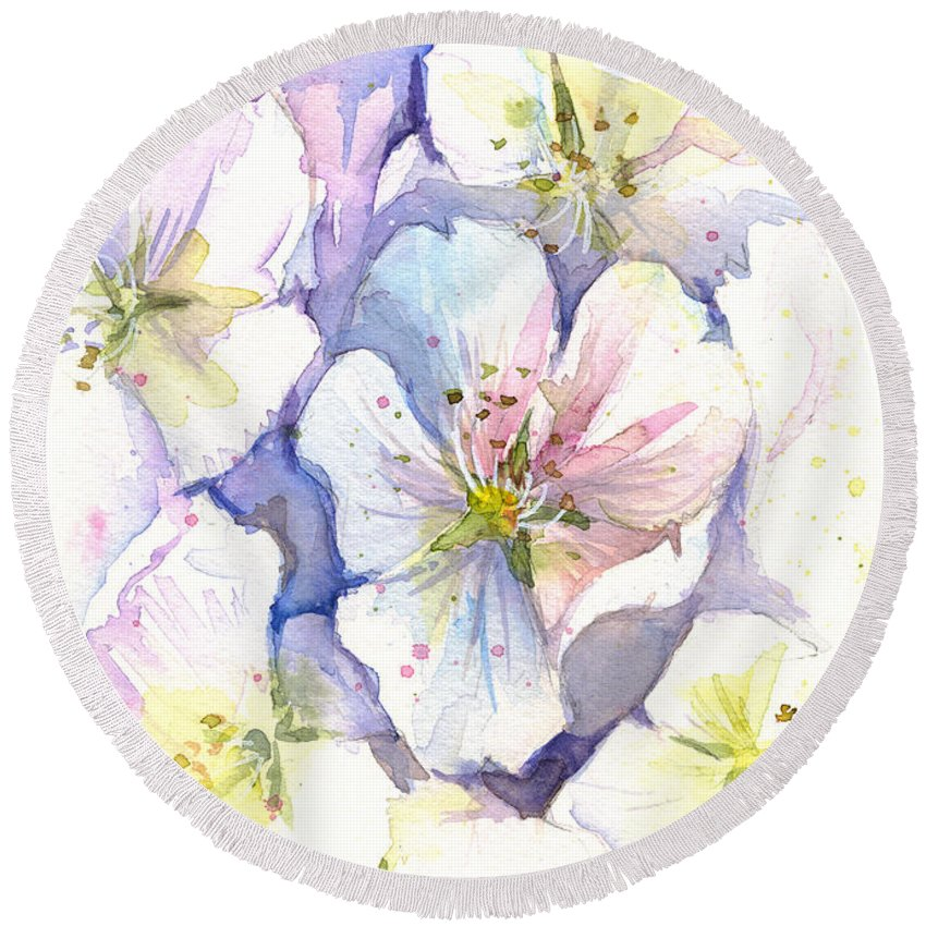 Cherry Blossom Round Beach Towel featuring the painting Cherry Blossoms Watercolor by Olga Shvartsur