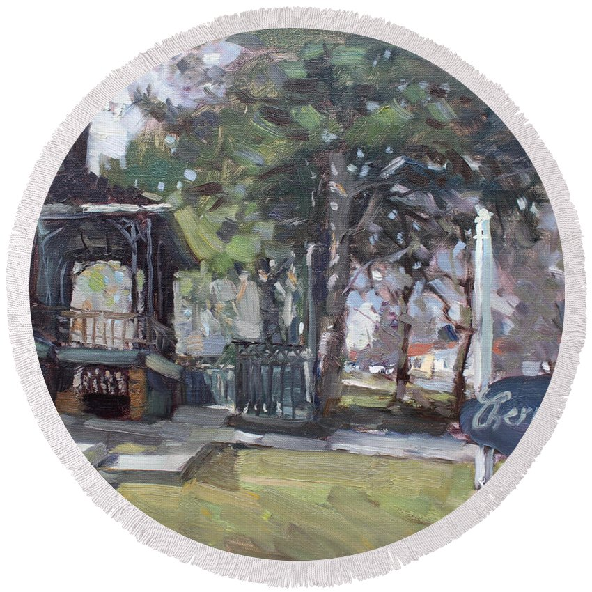 Cherry Hills Pub Round Beach Towel featuring the painting Cherry Hill Pub by Ylli Haruni
