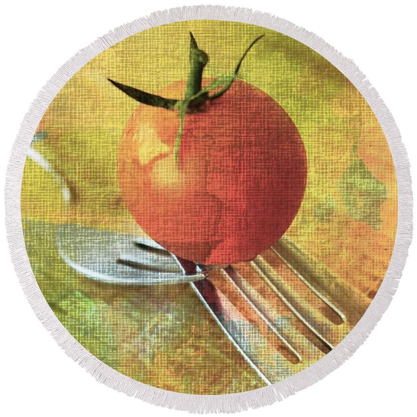 Cherry Tomato Round Beach Towel featuring the photograph Cherry On Top by Clare Bevan