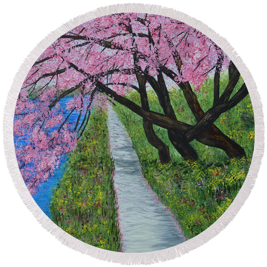 Cherry Blossoms Round Beach Towel featuring the painting Cherry Trees- Pink Blossoms- Landscape Painting by Kathy Symonds