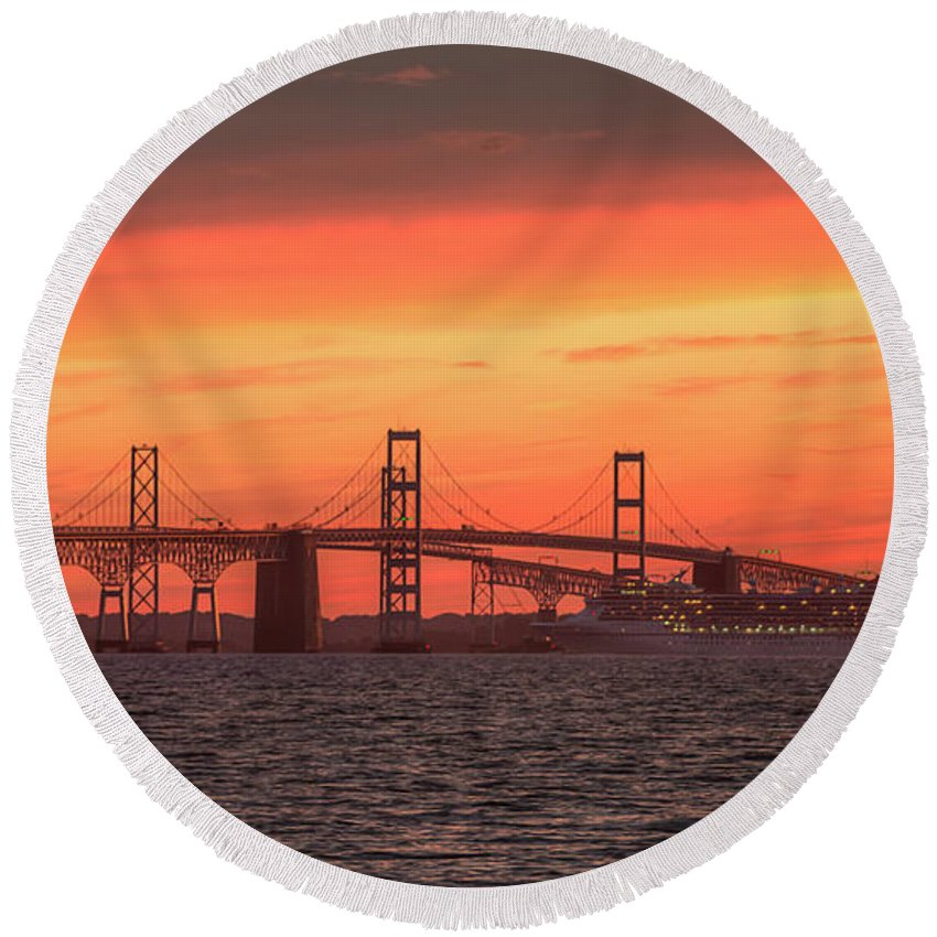 Cruise Round Beach Towel featuring the photograph Chesapeake Bay Bridge Sunset by Mark Dignen