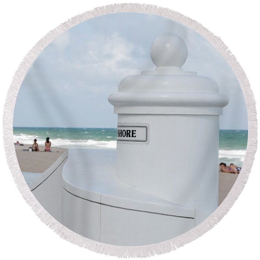 Shore Round Beach Towel featuring the photograph Chess Pawn Shore by Rob Hans