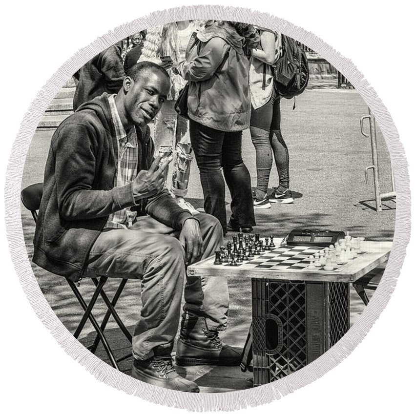 Chess Round Beach Towel featuring the photograph Chess Player by Fran Gallogly