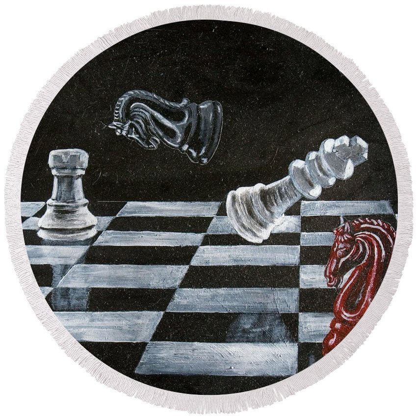 Chess Round Beach Towel featuring the painting Chess by Richard Le Page