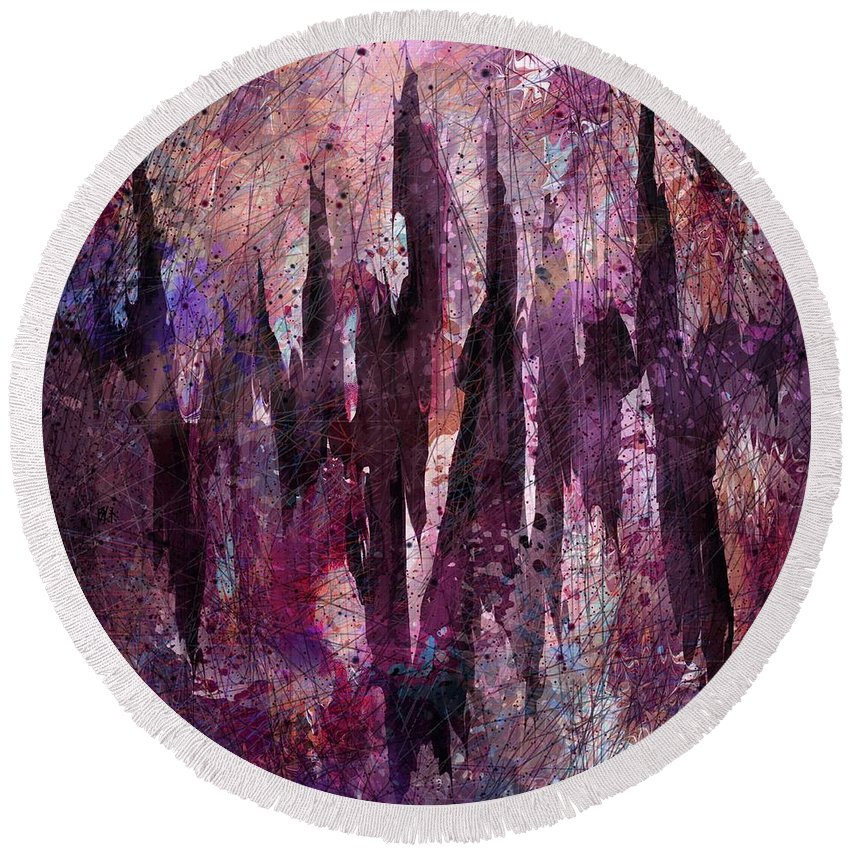 Abstract Round Beach Towel featuring the digital art Chest Pains by Rachel Christine Nowicki