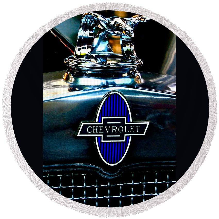 Photograph Of Chevrolet Hood Ornament Round Beach Towel featuring the photograph Chevrolet Hoodie by Gwyn Newcombe