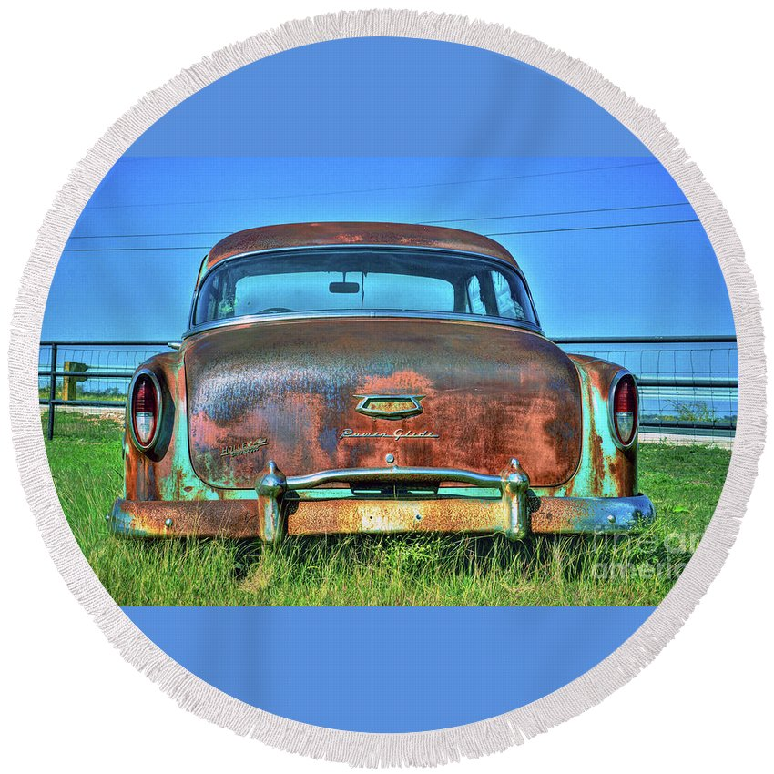Round Beach Towel featuring the photograph Chevrolet Power Glide 1954 by Savannah Gibbs