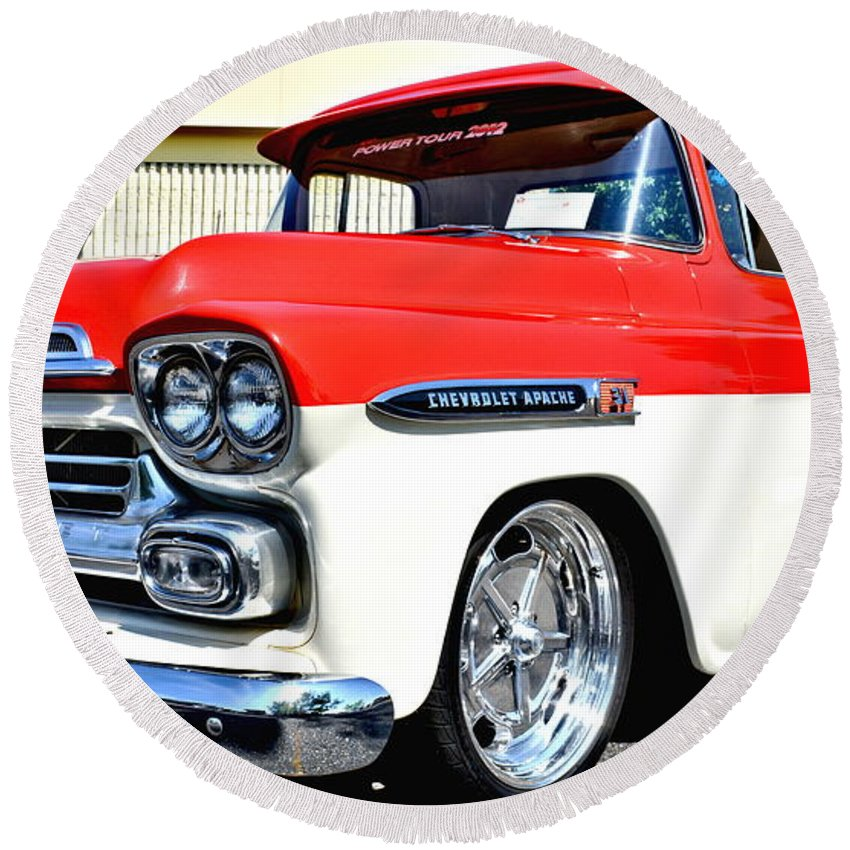 Truck Round Beach Towel featuring the photograph Chevy Apache Custom Hot Rod Truck by Amy McDaniel