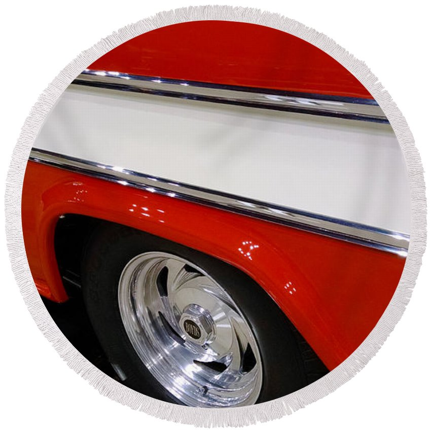 Chevy Cameo 1957 Round Beach Towel featuring the photograph Chevy Cameo 1957 by Stephanie Forrer-Harbridge