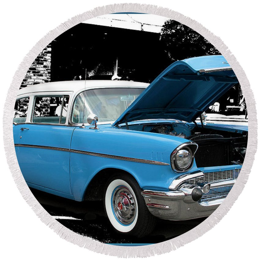 Chevy Round Beach Towel featuring the photograph Chevy Love 1956 by Victoria Harrington