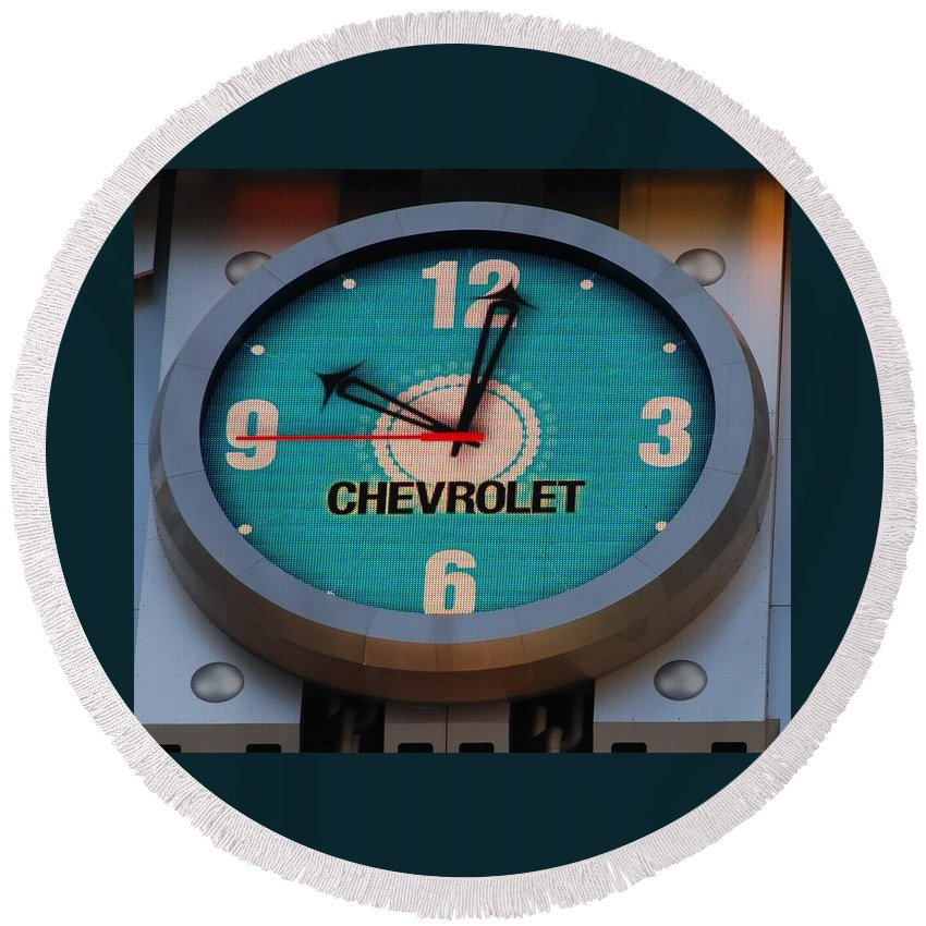 Clock Round Beach Towel featuring the photograph Chevy Neon Clock by Rob Hans