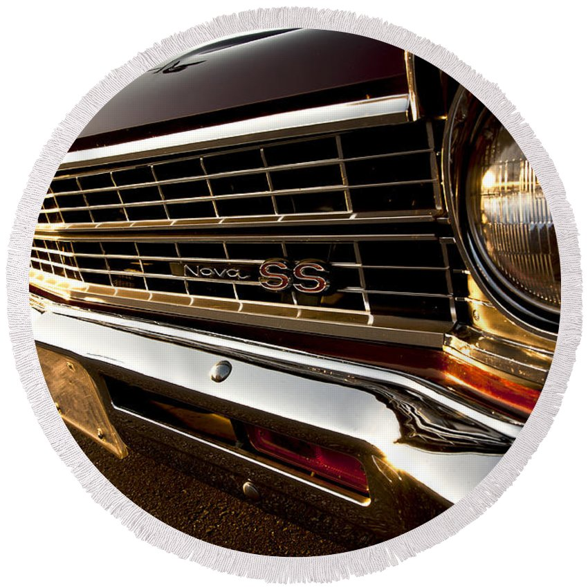 Chevy Round Beach Towel featuring the photograph Chevy Nova Ss by Cale Best