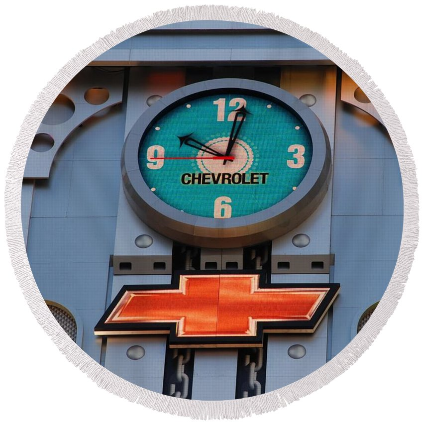 Clock Round Beach Towel featuring the photograph Chevy Times Square Clock by Rob Hans