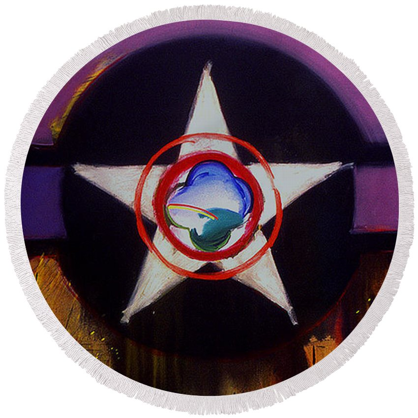 Air Force Insignia Round Beach Towel featuring the painting Cheyenne Autumn by Charles Stuart