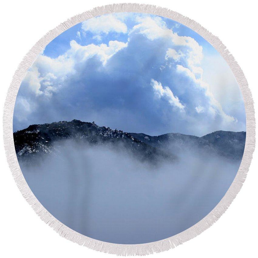 Mountain Round Beach Towel featuring the photograph Cheyenne Mountain by Ric Bascobert