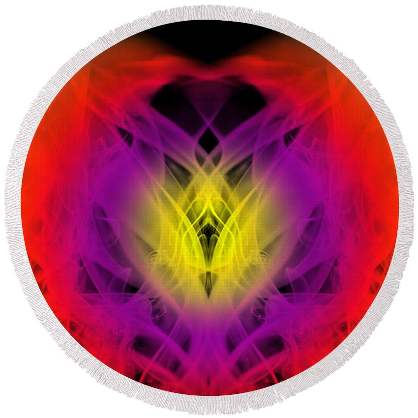 Clay Round Beach Towel featuring the digital art Chi by Clayton Bruster