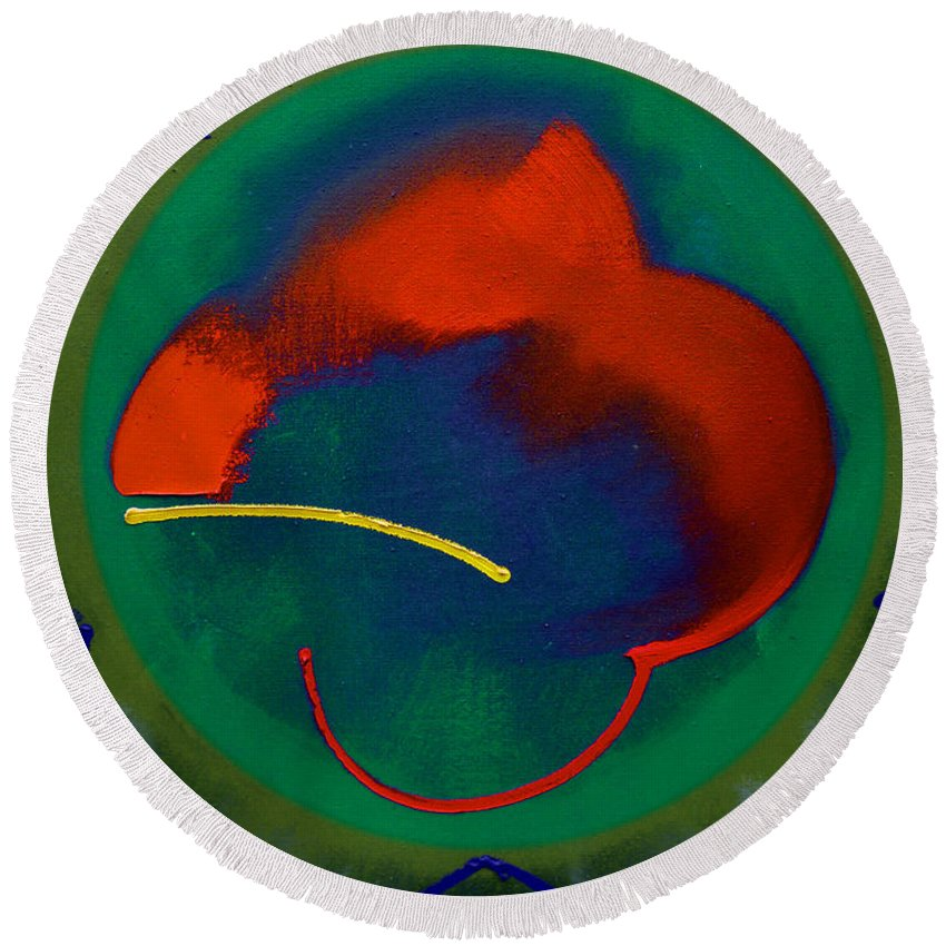 Landscape Round Beach Towel featuring the painting Chi Na by Charles Stuart