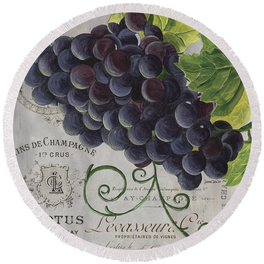 Grapes Round Beach Towel featuring the painting Vins de Champagne 2 by Debbie DeWitt
