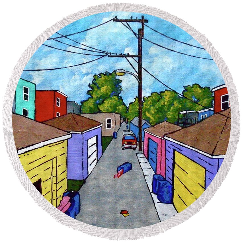 Acrylic Round Beach Towel featuring the painting Chicago Alley by Mike Kraus