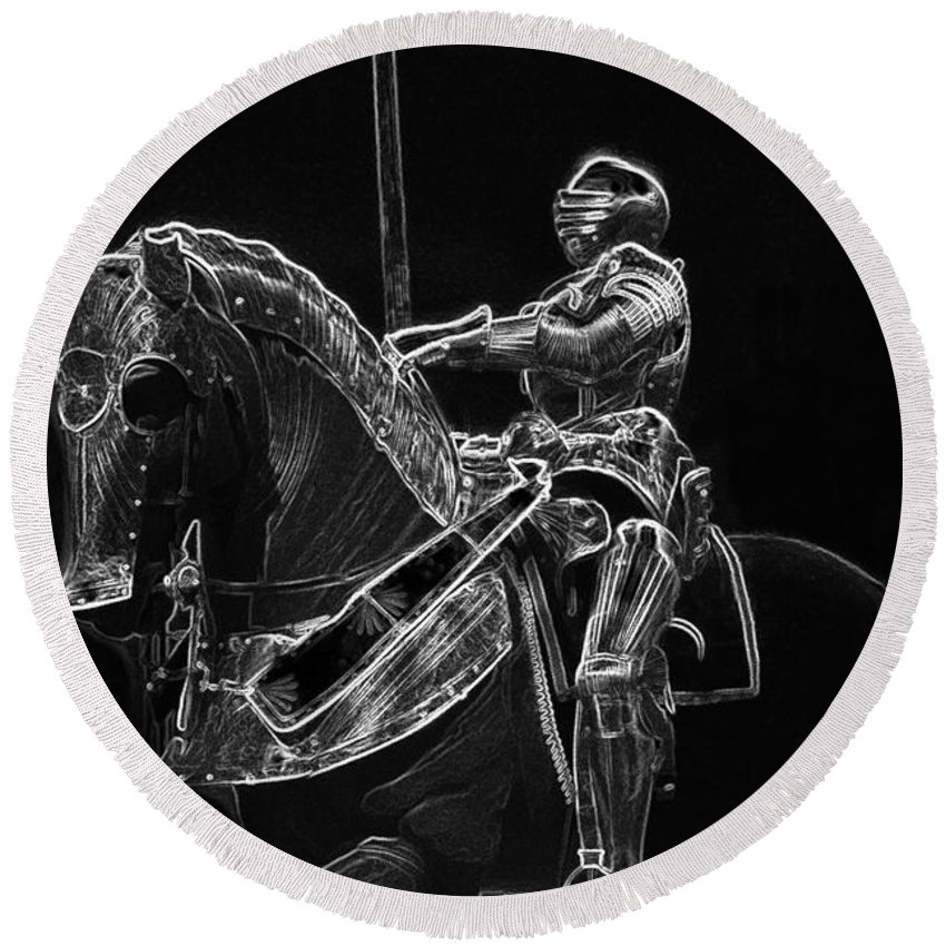 Armor Round Beach Towel featuring the photograph Chicago Art Institute Armored Knight And Horse Bw Pa 02 by Thomas Woolworth