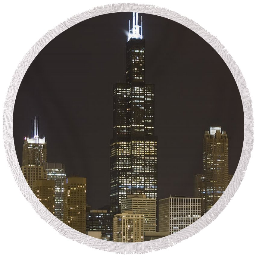 City Sky Skyline Wind Windy Windycity Il Chicago Night Dark Light Lights Street Building Tall House Round Beach Towel featuring the photograph Chicago At Night by Andrei Shliakhau
