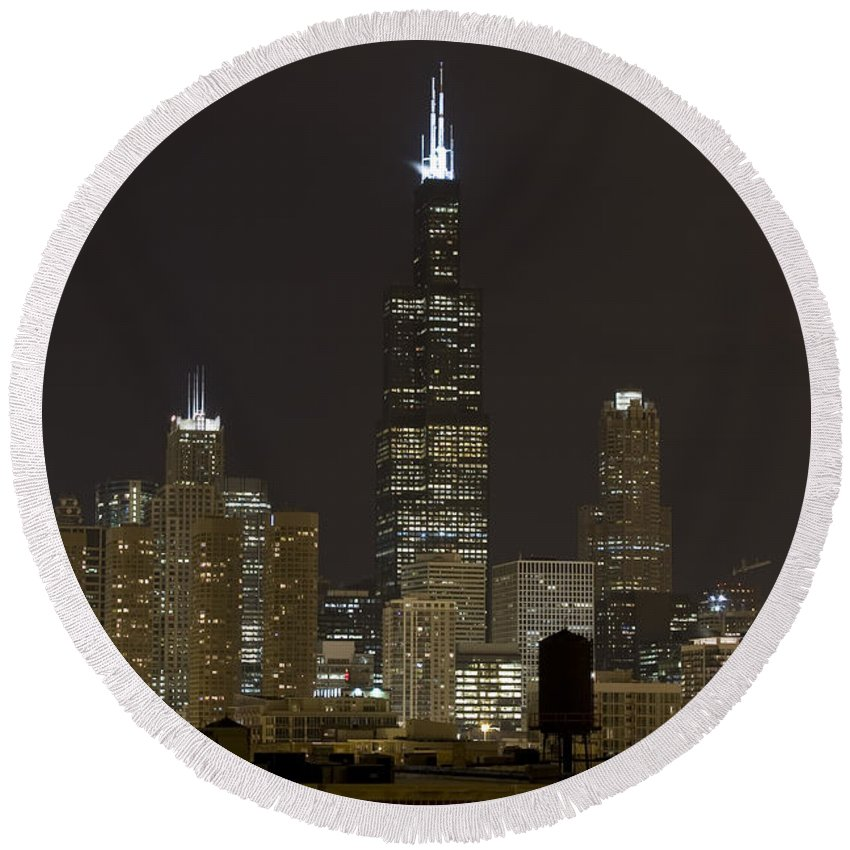 City Sky Skyline Wind Windy Windycity Il Chicago Night Dark Light Lights Street Building Tall House Round Beach Towel featuring the photograph Chicago At Night I by Andrei Shliakhau