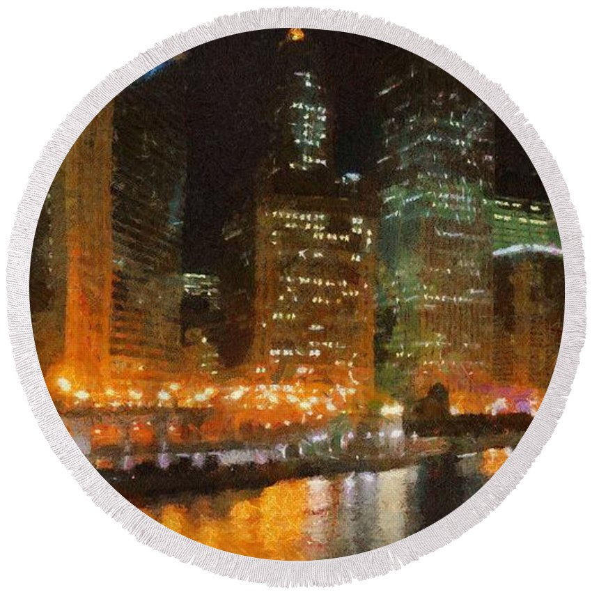 Chicago Round Beach Towel featuring the painting Chicago At Night by Jeffrey Kolker
