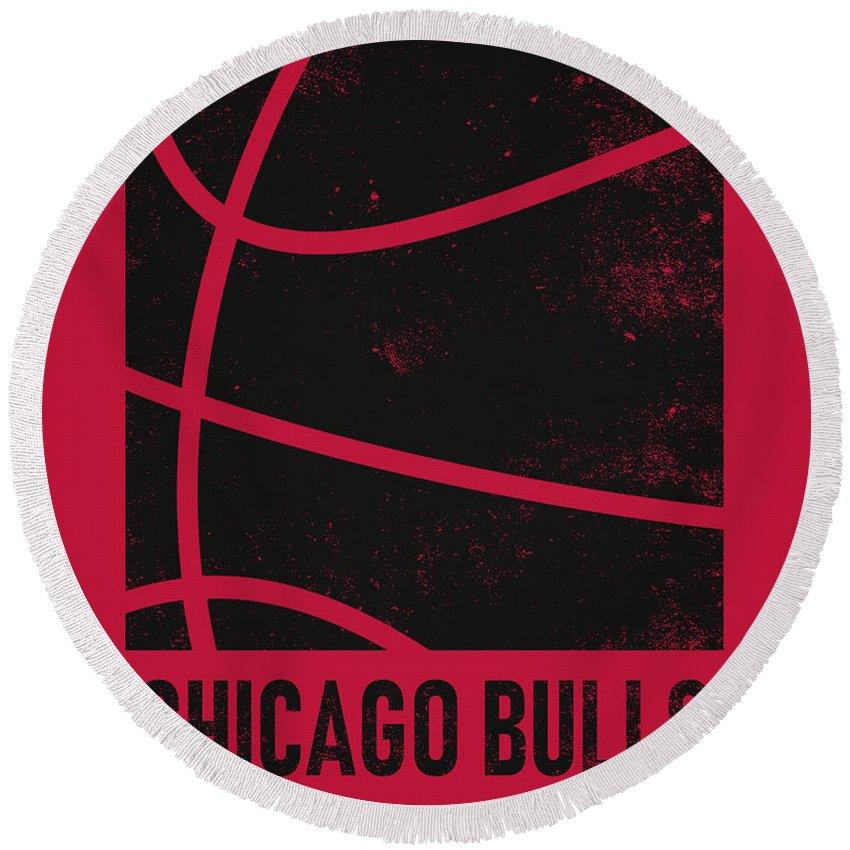 Bulls Round Beach Towel featuring the mixed media Chicago Bulls City Poster Art 2 by Joe Hamilton