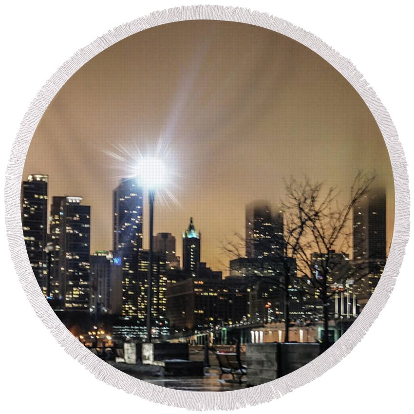 Chicago Round Beach Towel featuring the photograph Chicago City At Night by Art Spectrum