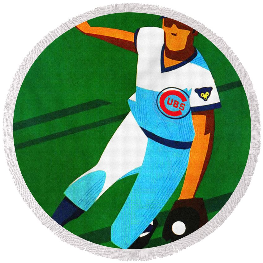 Chicago Cubs Round Beach Towel featuring the painting Chicago Cubs 1972 Official Program by John Farr