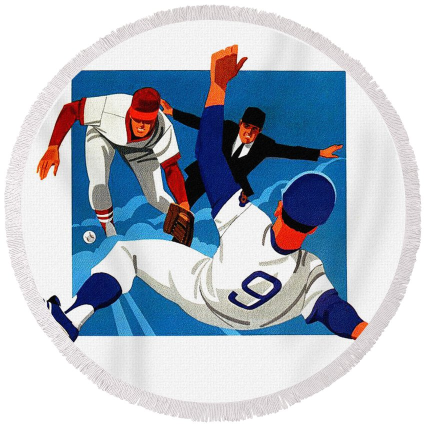 Chicago Cubs Round Beach Towel featuring the painting Chicago Cubs 1974 Program by John Farr