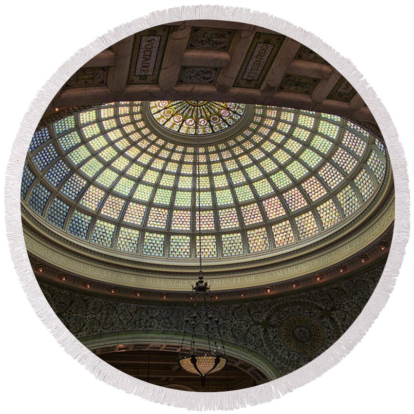 Chicago Cultural Center Round Beach Towel featuring the photograph Chicago Cultural Center Tiffany Dome 01 by Thomas Woolworth