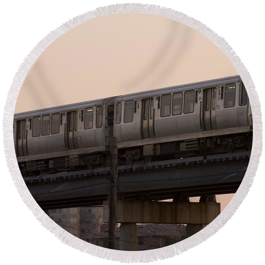 Chicago Windy City El Elevated Train Urban Metro Passanger Transport Transportation Round Beach Towel featuring the photograph Chicago El by Andrei Shliakhau