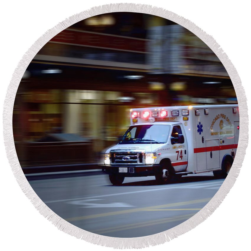 Chicago Round Beach Towel featuring the photograph Chicago Fire Department Ems Ambulance 74 by Thomas Woolworth