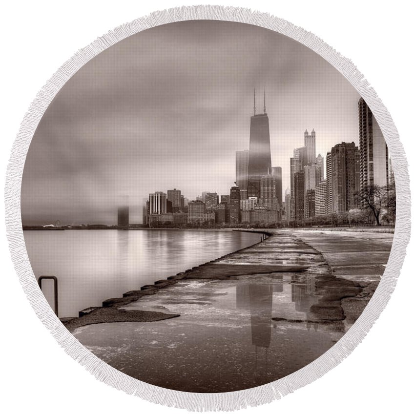 Chicago Round Beach Towel featuring the photograph Chicago Foggy Lakefront Bw by Steve Gadomski
