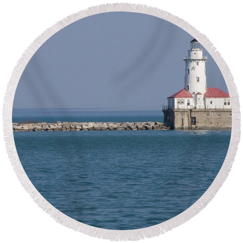 Chicago Windy City Lighthouse Light Harbor Lake Michigan Water Blue Sky Red Roof Safe Guide Round Beach Towel featuring the photograph Chicago Harbor Lighthouse by Andrei Shliakhau