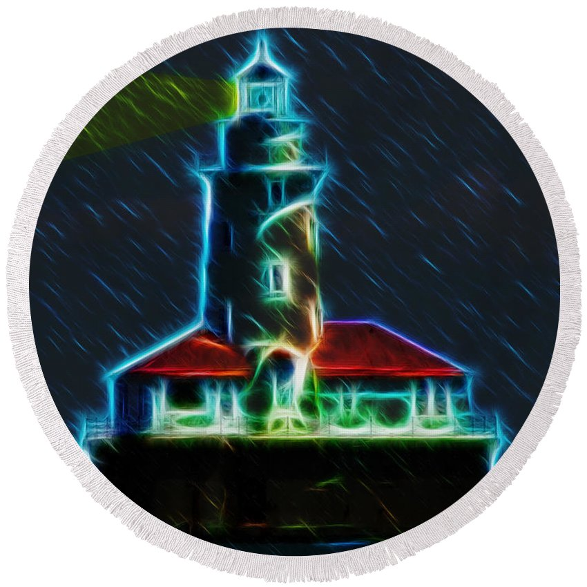 Chicago Round Beach Towel featuring the digital art Chicago Harbor Lighthouse by Chris Flees